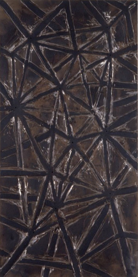the Way 1992, mixed media on sheet iron and  metal, 100x200cm