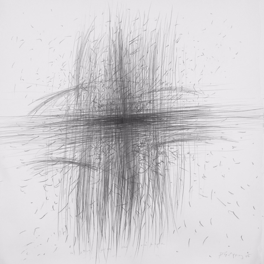 yesterday into today 2015 graphite on paper 150x150cm